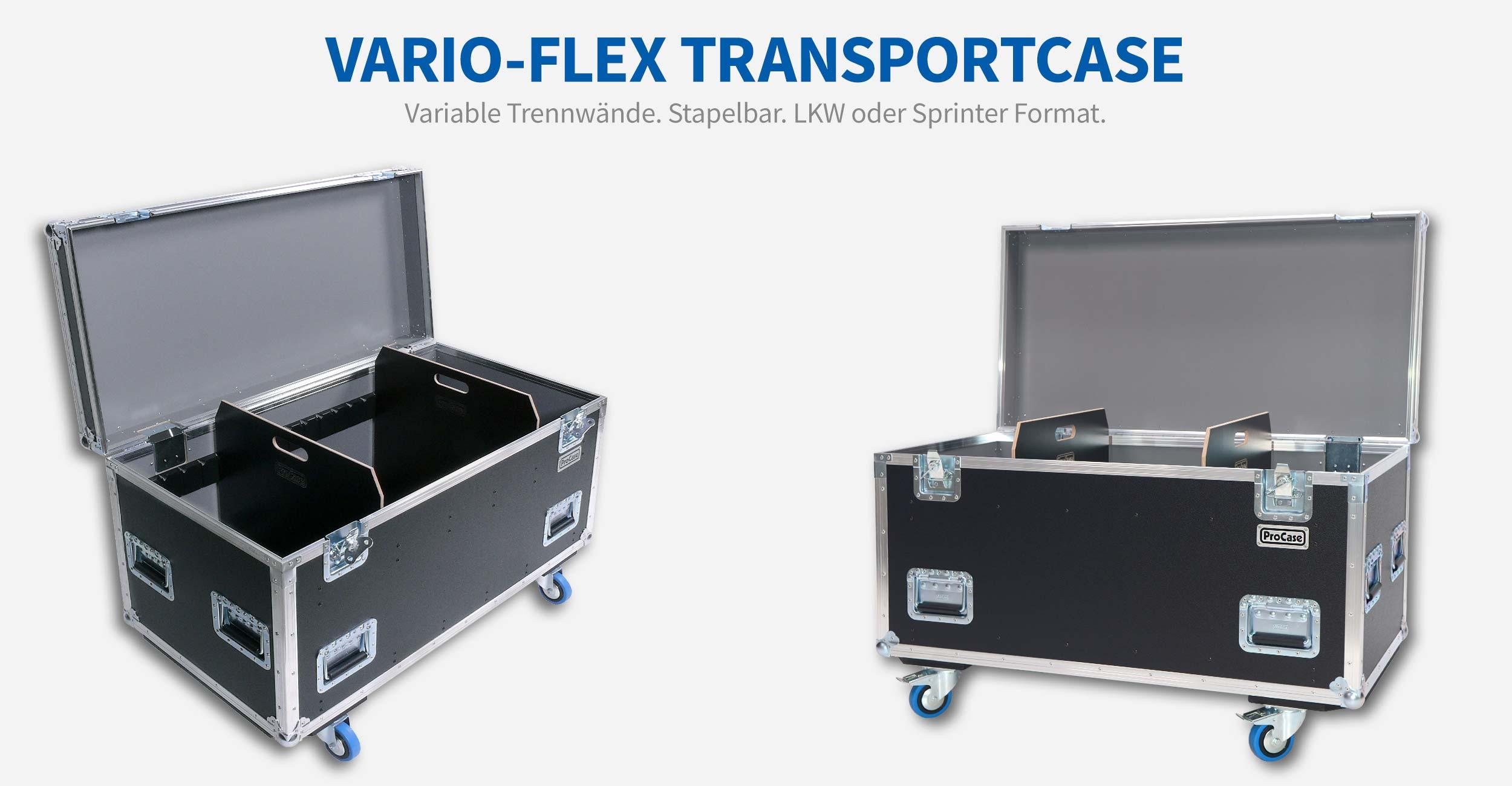 Vario-Flex Transportcase. Variable Trennwände. Stapelbar. Im LKW oder Sprinter Format erhältlich