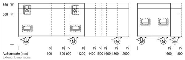 Größenübersicht der Vario-Flex Packcases